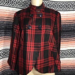LARRY LEVINE PLAID DOUBLE BREASTED CAPE JACKET